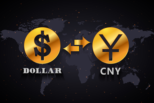 Multi-Currency Account - US Dollar Sign with arrows pointing to and from Chinese Yuan Renminbi sign