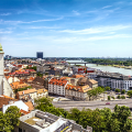 Bratislava, capital city of Slovakia, view of city skyline showing companies impacted by Slovakia Employment Rules Change for Non-EU Nationals