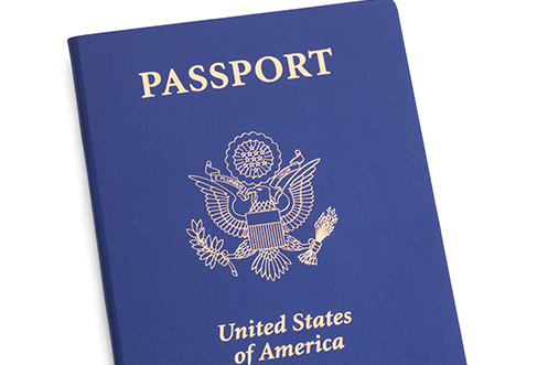 Dark Blue US Passport cover with gold imprint lettering on top Passport