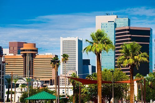 Phoenix city skyline, a major city in Maricopa County
