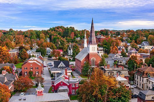 Montpelier Vermont city skyline benefits from United States migration patterns