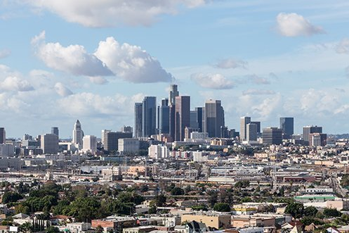 Skyline of city of Los Angeles, with Los Angeles housing options in view throughout the city