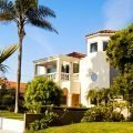 Los Angeles house, white stucco, tile roof, typical of many single family homes