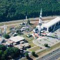 Overhead view of the Rocket Center located in Huntsville, Alabama