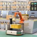 2019 fastest growing industries include manufacturing of Automated Guided Vehicles, shown accepting a package from a robotic arm from a manufacturing assembly line