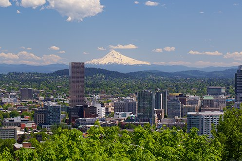 City Skyline view of Portland Oregon