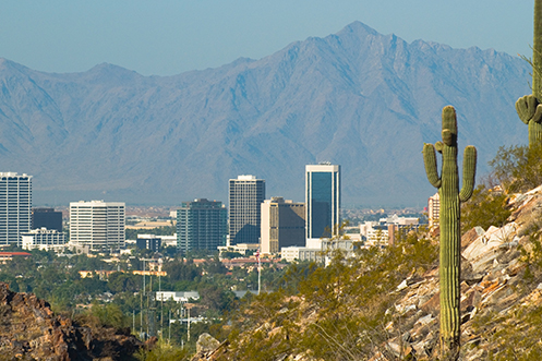 Skyline view of the city of Phoenix Arizona, the top state for inbound moves