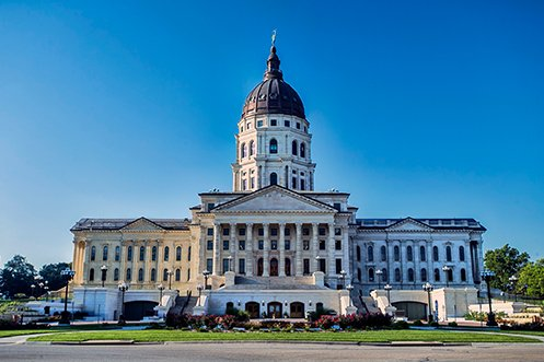 Kansas State Capitol Building, where new residents will see the legislature if they move to Kansas using Choose Topeka moving incentives
