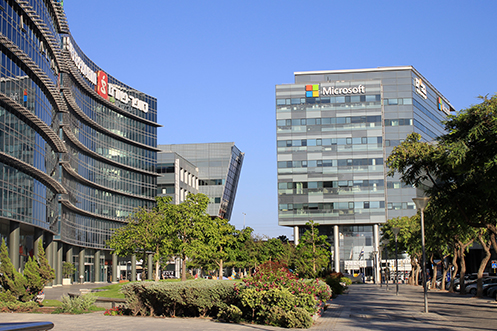 Office buildings in Tel Aviv that are part of the Israel hi-tech sector