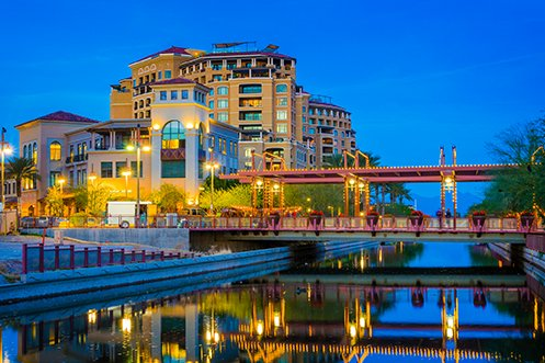 Downtown Scottsdale Arizona and canal, a top ranked city for the 2020 USA job market