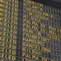 Flights canceled board at airport due to extreme restrictions on travel guidance