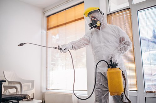 Cleaning man in special suit spraying and disinfecting an office to ensure full sanitation