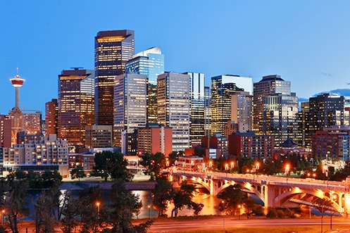 Calgary city skyline filled with companies that represent top Calgary industries