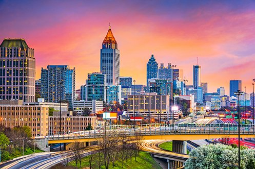 Atlanta Georgia skyline, one of the Southern region cities in a state that has population estimates higher than the U.S. average rate of increase