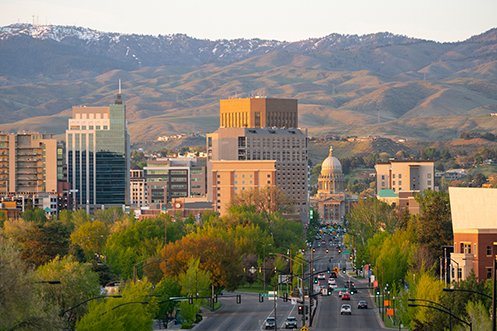 Boise Idaho city skyline, one of the top 12 cities in 2020 with US Job Opportunities