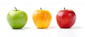 Green, Yellow, and Red Apples