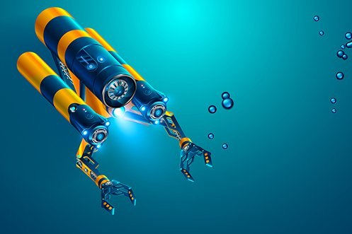 2020 fastest growing industries include manufacturing of Autonomous Underwater Vehicles, shown underwater on a deep dive exploration