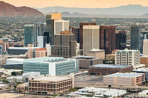City skyline of Phoenix, Arizona, central business district in Maricopa County ranking at #1 on the 2020 regional competitiveness score