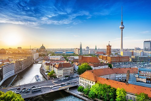 City skyline of Berlin, Germany where many UK nationals live and work